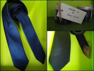 Navy blue handmade tie
